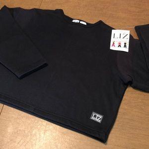 VTG Liz Claiborne Black Crop Sweatshirt Size M